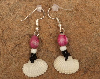 Handmade White Seashell Earrings with Black and white beads and Pink Job's Tears seeds.