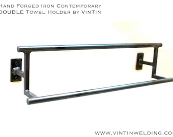 Hand Forged Iron Contemporary DOUBLE Towel Holder by VinTin