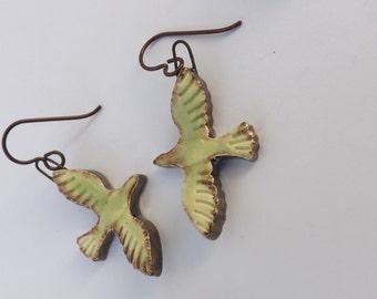 Bird earrings, ceramic earrings, ceramic bird earrings, animal earrings, bird jewellery, animal jewellery