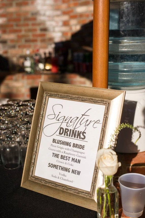 Wedding signature drink sign wedding signature cocktail sign junglespirit Gallery