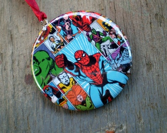 Superhero Christmas Ornament, 2.25 Inch, Available in Magnet, Pin or Pocket Mirror,