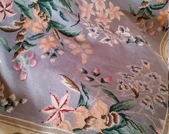 Vintage Wool French Style Rug Floral