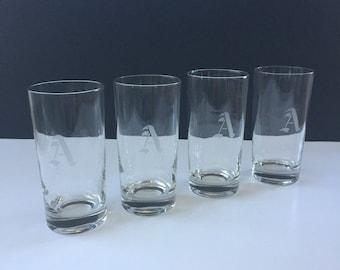 "Retro Set of 4 ""A""  Monogrammed Glasses"