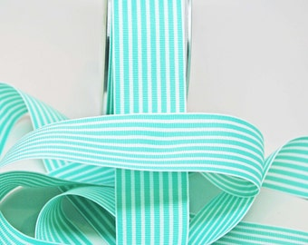 Striped Grosgrain Ribbon -- 1.5 inches -- Robins Egg Blue White