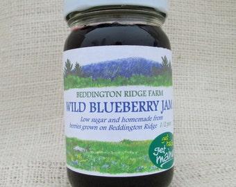 Maine wild blueberry jam/wild blueberry jam/jar of jam/blueberry jam/homemade jam/low sugar jam/berry jam/fruit preserves/delicious jam/jam