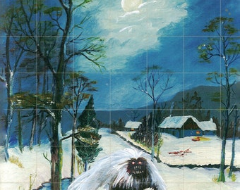 Thrift Store Art! Snow Yeti PRINT