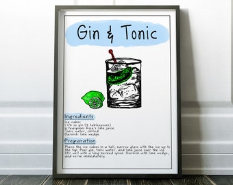 Gin and Tonic Poster Gin and Tonic Kitchen Decor Gin & Tonic Print Bar Gift Gin and Tonic Man cave Poster Modern Decor Living Room Decor