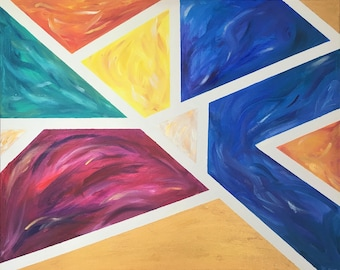 """Colourful Abstract Acrylic Painting, Geometric Pattern 24x30"""""""