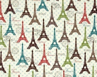 Floral Fabric, Paris Eiffel Tower Fabric: Spring Rosenthal Represents Eiffel Towers Toss Premium by David Textiles 100% cotton Fabric (DA49)