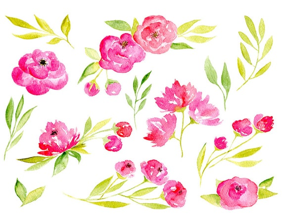 Watercolor floral clipart purple red pink flowers aquarelle digital this is a digital file mightylinksfo