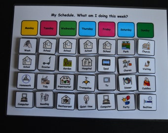 My Weekly Schedule Visual Support Visual Aid for Asd/Adhd/Add/Learning Difficulty/Visual Learners/Pre-School & 100 Symbols