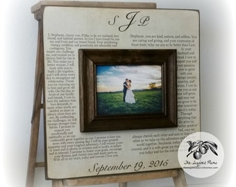 Anniversary Gift Personalized, Wedding Vows, 5th Anniversary Wood, 16x16 The Sugared Plums Frames