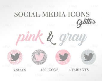 Social Media Icons Set Glitter Pink Gray Download