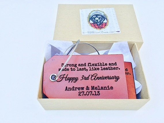 Gift For 3rd Wedding Anniversary: Third Anniversary Gift For Her Luggage Tag Leather Gift For