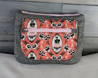 Halloween Themed Girl in Fox Mask Ophelia Coral Orchid Waist/Sling Bag Fanny Pack