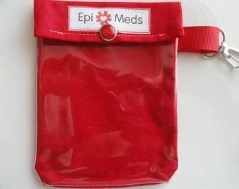Epi or Inhaler Meds Pouch Clear Front W/ Clip Holds 1 - 2 Auvi Q Style Allergy Injectors or 1 Asthma Puffer 4x5 - Red Fabric