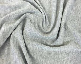 Cotton Lycra Spandex Solid Knit Jersey Fabric by the yard -10 oz (Heather Grey) (S1)