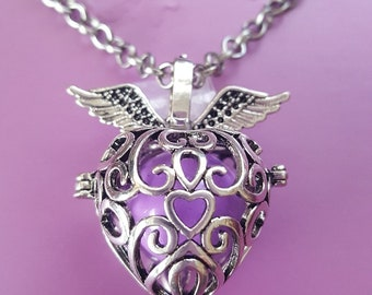 Winged Heart / Strawberry Harmony Ball, Angel Caller,  Bola Ball, Pregnancy Necklace