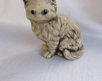 Vintage Cement Blue Eyed Kitty Cat Garden Figurine Statue