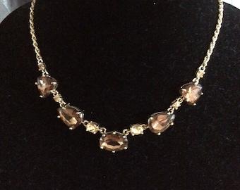 Brown Rhinestone Necklace