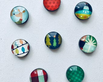 Modern Christmas Decorative Magnets--Set of 8