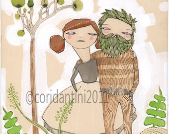 watercolor portrait of an outdoorsy couple - bride and groom - archival - limited edition - print - sickeningly sweet by cori dantini