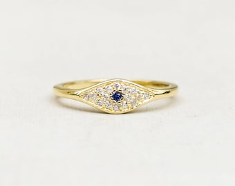 Evil Eye Stacking Ring - GOLD - Micro pave with Colored Stone -Sapphire/blue colored eye
