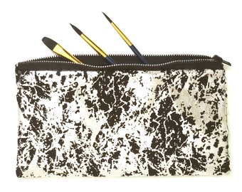Metallic Foiled Art Bags - Cosmetic Bag - Brush Bag - Toiletry Case - Purse Make-Up Organizer - Art Case - Pencil Pouches (set of 2)