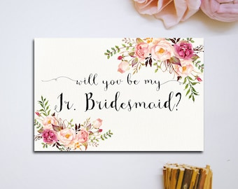 Will You Be My Bridesmaid Printable Wedding Card Calligraphy