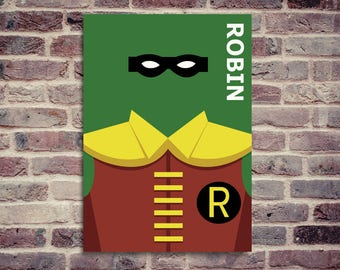 Minimalist Robin poster. Robin and Batman poster.