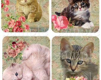 Instant Download - KITTENS -  Collage Sheet - Printable Download - Gift Tags - Scrapbook