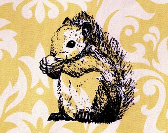 Squirrel Stamp: Wood Mounted Rubber Stamp