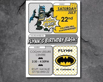 Batman lego party invitations - free P&P