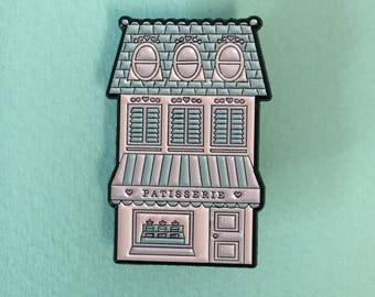 Patisserie lapel enamel pin in pastel colours, inspired by the  French patisseries of Lyon
