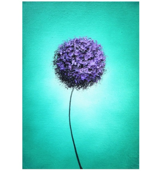 Items Similar To Teal Purple Abstract Flowers Wall Decor: Abstract Art Flower Art Print Of Contemporary Purple Flower