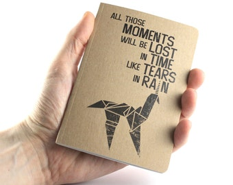 "Blade Runner inspired Small Notebook ""All Those Moments Will Be Lost In Time Like Tears In Rain"""