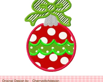 Christmas Ornament with bow Machine Embroidery Applique Design - 4x4 5x5 6x6'