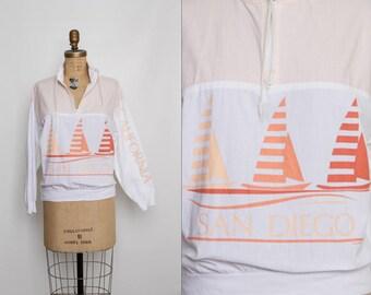 vintage 80s pullover souvenir San Diego California sailboat motif