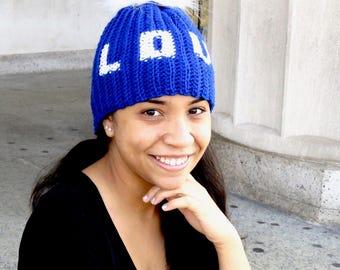 Love Pom Pom Hat, Crochet Pom Pom Hat, love, Tam Hat, Crochet Hat, Color is Royal,