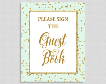 Sign The Guest Book Printable Sign, Mint and Gold Glitter Confetti Shower Sign,  Gender Neutral, INSTANT DOWNLOAD