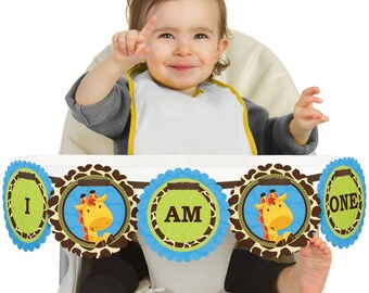 Boy Giraffe - 1st Birthday - I Am One - First Birthday High Chair Banner - First Birthday Party Decorations