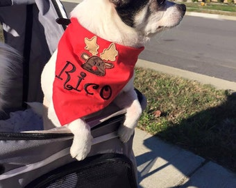 Personalized Rudolph the Red Nosed Reindeer Christmas Bandana for Dogs