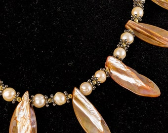 Shells and Freshwater Pearls Necklace in Antique Copper