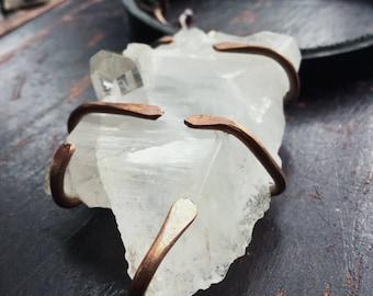 Large quartz necklace | white quartz necklace, raw crystal, raw stone necklace, statement necklace, prong set quartz