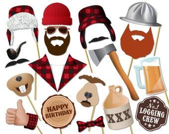 Printable Lumberjack birthday photo booth props. Lumberjack Party, logging crew, loggers. Instant download - 0191