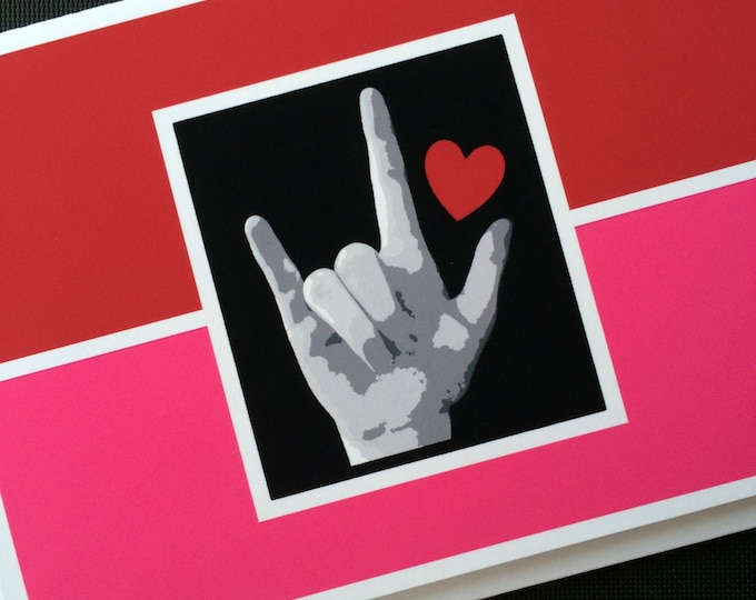ASL I LOVE You Valentine Heart - American Sign Language - Red and Pink Blank Note  Card