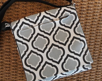 Clearance price for Black and white messenger crossbody bag. Handmade by RiverPurseWorks