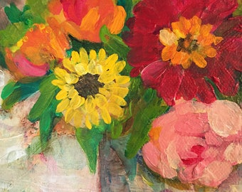 Flowers in Horizontal Arrangement; Bright Floral Painting; Flowers in Box Mixed Media