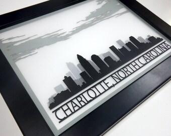 Charlotte skyline silhouette - 3D laser cut cityscape silhoette wall decor 11x14 - graduation wedding engagement business gift
