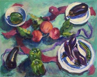Still Life, Kitchen Painting, Vegetables